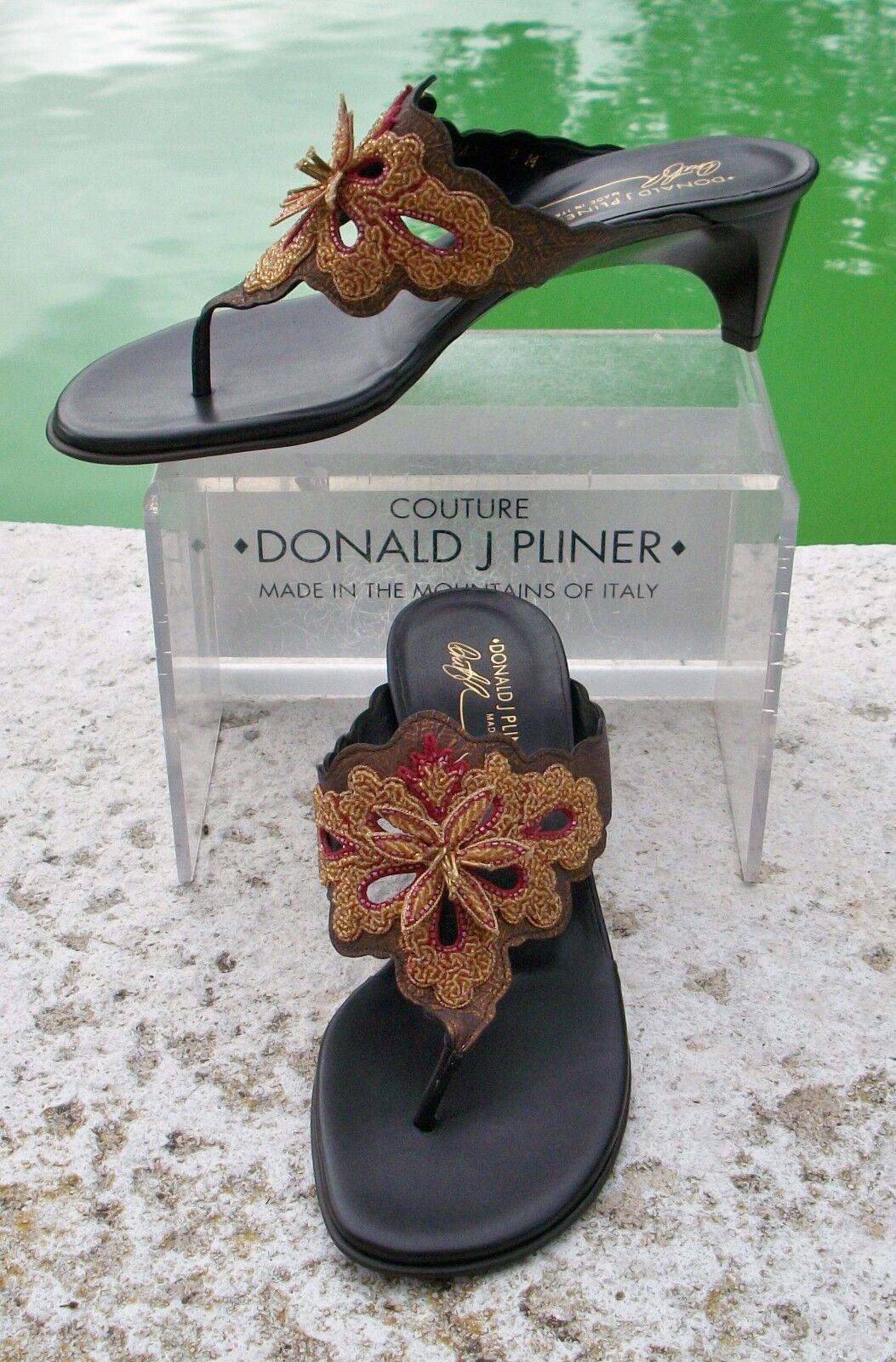 Donald Pliner Pliner Pliner Metallic Leather chaussures New Rubber Flex Sole Flat Sandal Toe  285 f4b8c0