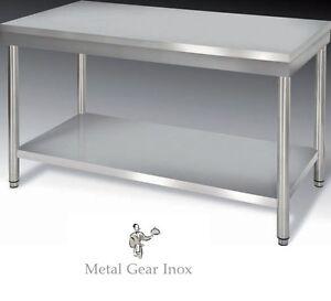 ObéIssant Table Inox Avec étagère Basse 1200 X 700 X 900 Mm Promotion .
