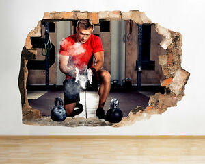 Q832 Weights Girl Fit Strong Gym Smashed Wall Decal 3D Art Stickers Vinyl Room