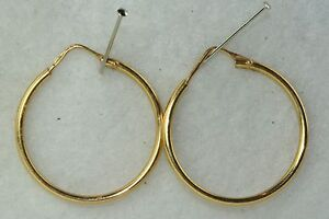 Image Is Loading Italian Medium 18k Yellow Gold Hoop Hoops Earrings