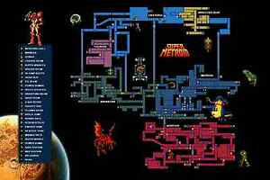 Super Metroid Map RGC Huge Poster   Super Metroid Map Super Nintendo SNES Samus Aran  Super Metroid Map