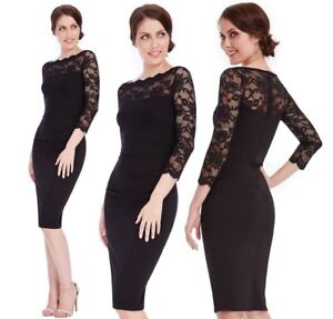 Goddess-Black-Scallop-Lace-Fitted-Wiggle-Marcella-Cocktail-Evening-Party-Dress