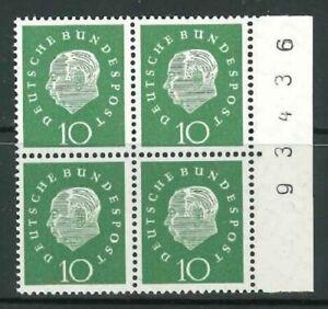BRD-Mi-Nr-303-Viererblock-4er-Bogenrand-rechts-postfrisch