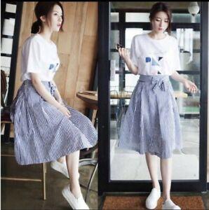 cab3f881322d Image is loading Elegant-Korean-Fashion-Short-Sleeve-Summer-Floral-Striped-