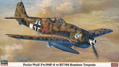 Hasegawa 1 48 Focke-Wulf Fw190f-8 con   Bt700 Bomben Torpedo Kit de Modelismo