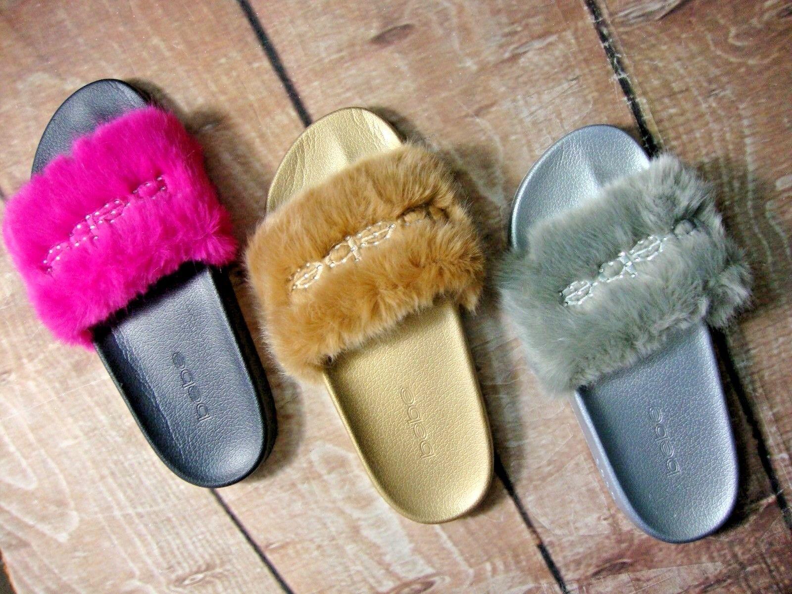 GREAT DEAL bebe Slide Logo Faux Fur FURIOSA Women's Slides Sandals