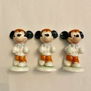 Vintage-Walt-Disney-Mickey-Mouse-Jogging-Goebel-Figurine-set-Of-3-Germany