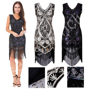 e3eff1a8a81f1 Details about Women Vintage 1920s Tassel Gatsby Charleston Flapper Fringe  Dress Costume outfit