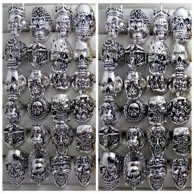 30 X Skull Gothic Schädel Head Biker Punk Damen Herrenringe Schmuck Ringe Band Offensichtlicher Effekt