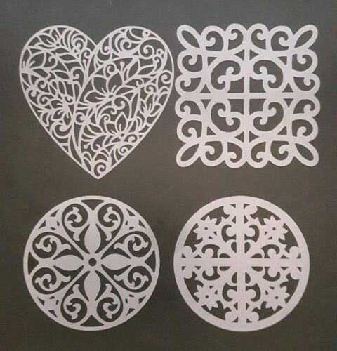 4 x pattern shapes design stencils for card making walls  Mylar hearts
