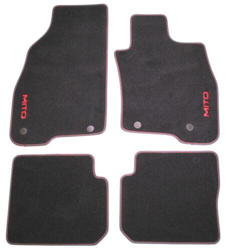 Alfa Romeo Mito Red Stitching Velour Carpet Floor Mats New Genuine 50903573