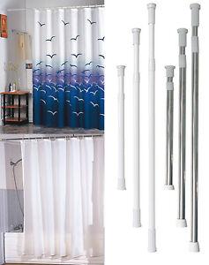 teleskop duschvorhang stange duschstange garderoben kleider alu edelstahl ebay. Black Bedroom Furniture Sets. Home Design Ideas
