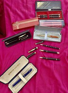rare lot 11 stylos Plume  Fountain Pen bille PIERRE CARDIN ENVOI INTERNATIONA