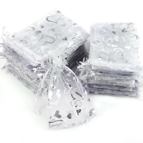 100pcs Bolsas de Organza Color Blanco con Estampada para Regalo Boda Bautizo