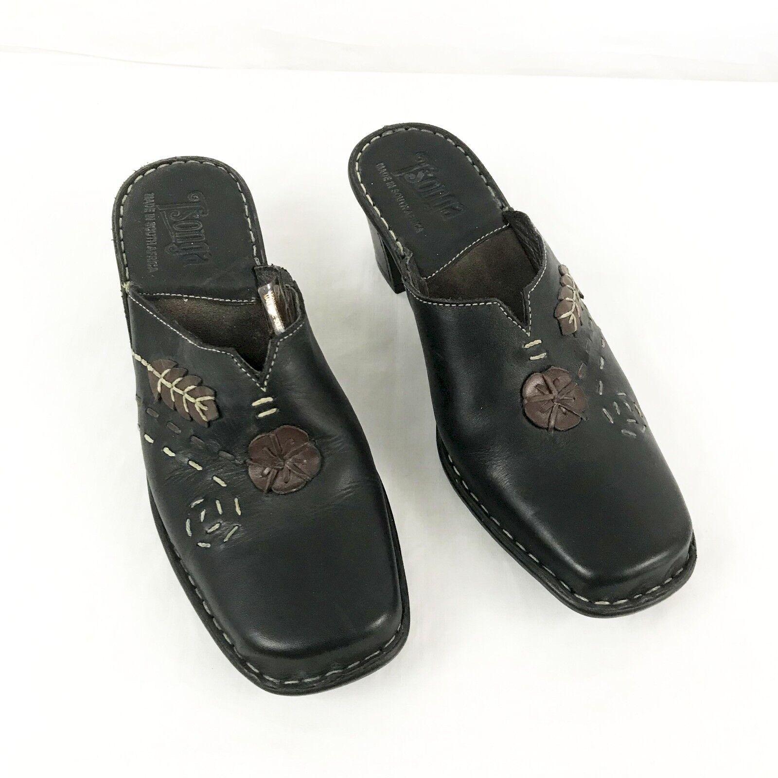 Tsonga Womens Mule Sz 8 M Slip On Leather Block Heel Embroidered Exposed Stitch