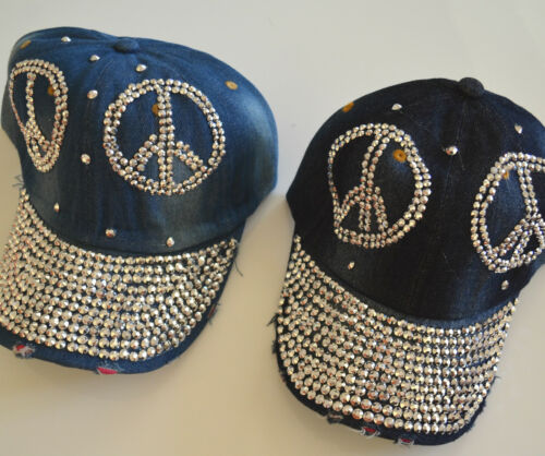 Damen Jeans Baseball Cap Basecap Kappe Mütze mit Strass Glitzer  Sonne Sommer