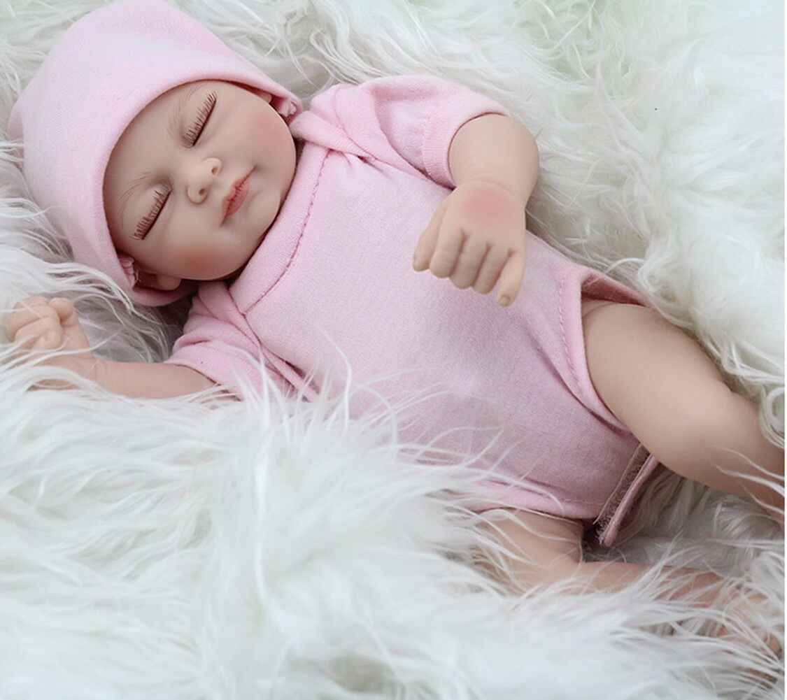 "11"" Real Life Reborn Newborn Lifelike Body Soft Vinyl Silicone Baby Girl Dolls"
