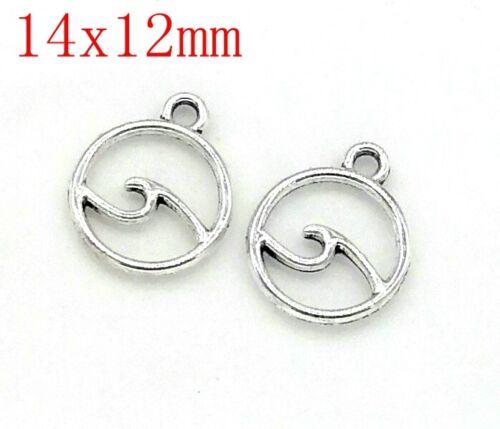 Tibetan Silver Charms Pendentif Vague Bijoux Artisanat Pendentif 150pcs