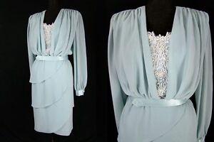 VTG-80s-Pearl-Sequin-Petal-Hem-Tiers-Skirt-Crepe-Chiffon-Party-Dress-L-Unworn