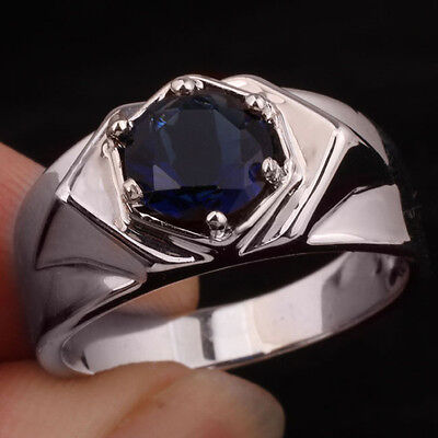 Men Dress Ring 925 Sterling Silver Band Round Blue Sapphire Size 13 Jewelry