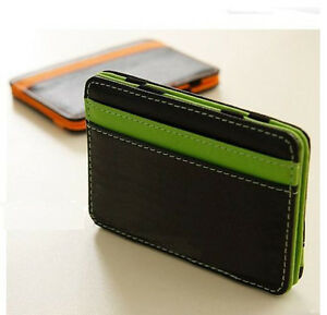 New Mens MAGIC MONEY CLIP Wallet Faux Leather ID Credit Card Slots ... f70f32815373