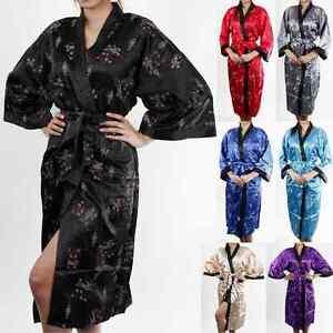 Synthetic Thai Silk Kimono Dressing Gown Bath Robe Pajamas Women`s Sleepwear