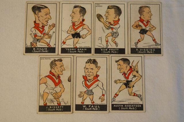 South Melbourne-1930's Standard Cigarettes-Bob Mirams Caricatures-Complete Set.