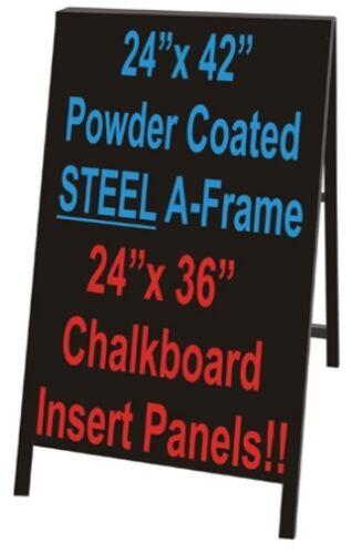 Uniko Black Powder Coated Steel Sidewalk A-frame Sign Black Chalkboard Inserts