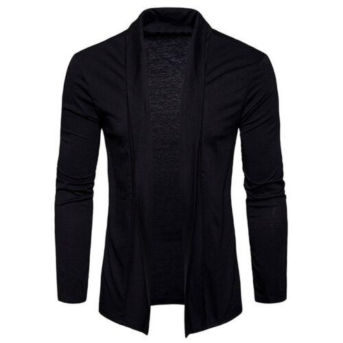 Herbst Herren Cardigan Jacke Langarm Slim Solid Color Pullover Mantel Coat Mode