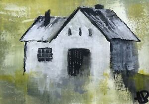 ORIGINAL-ACEO-ACRYLIC-PAINTING-Landscape-RUSTIC-Old-Mill-Barn-By-Heather-Brooks