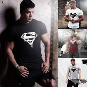 Hommes-ete-salles-de-sport-T-Shirt-Homme-Decontracte-Fitness-T-shirt-fashion-Crossfit-a-manches