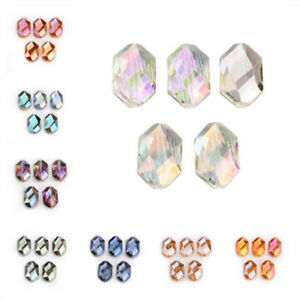 18x12mm-Charms-Faceted-Glass-Crystal-Findings-Oval-Hexagon-Loose-Spacer-Beads