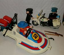 Vintage Playmobil police motorcycle w/2 officers and boat