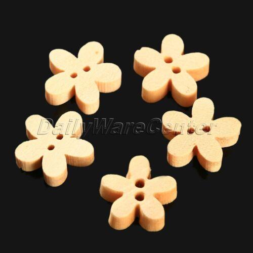 Dessin animé en bois naturel boutons Scrapbooking couture Perle À faire soi-même Craft 13 forme 100pcs
