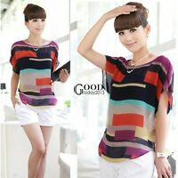 Korean Batwing Women Girls Blouse Chiffon Stripe Short Sleeve Loose Tops T-Shirt