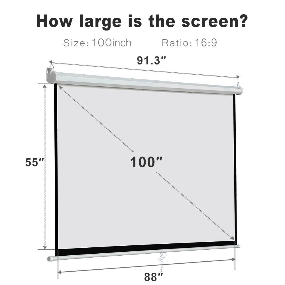 "100"" Diagonal 16:9 Projection Projector Screen HD Manual Pul"