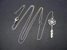 """$16 BP Dream Catcher Lariat Necklace Silvertone Metal 28"""" Long 7"""" Pendant Drop"""