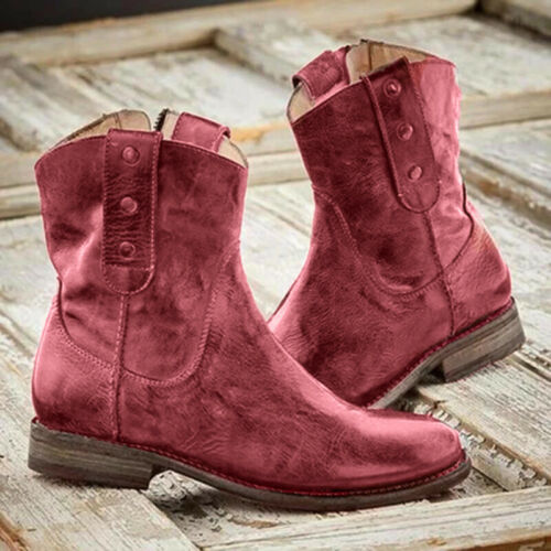 US Women Mid Calf Boots Ladies Chunky Low Block Heel Wide Calf  Shoes Size 6-9
