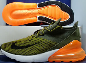 Nike Air Max 270 Flyknit Olive Orange AO1023 301 Sneaker