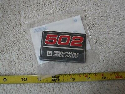 NOS EMBLEM GM 12363953 502 CUBIC INCHES VALVE COVER DECAL