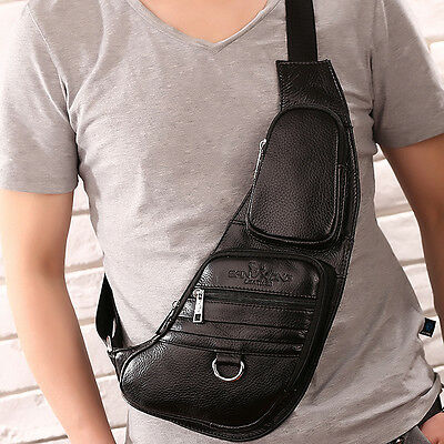 Men Genuine Leather Messenger Shoulder Crossbody Bag Travel Sling Chest Day Pack