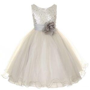 Flower-Girls-Sequin-Glitter-Beaded-Dress-Christmas-Pageant-Graduation-Silver-New