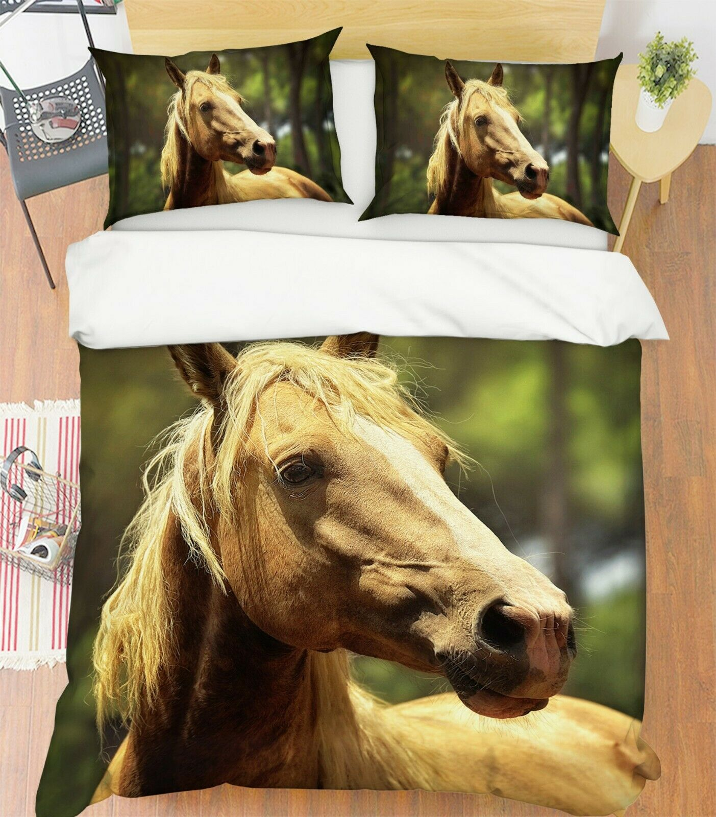 3D Horses Grass I51 Animal Bed Pillowcases Quilt Duvet Cover Queen King Ang