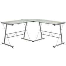L Shape Computer Desk With Clear Tempered Glass Top Amp Silver Metal Frame