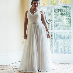 Image Is Loading Plus Size Beach Chiffon Bridal Gowns A Line