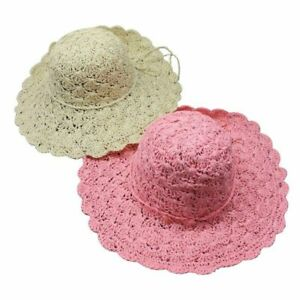 cf1dea879 Foldable Crochet Sun Hat Hollow Dome Straw Wide Brim Summer Beach ...