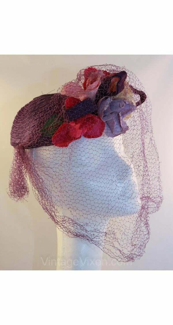40s Hat - Wonderful 1940s Purple Veiled Millinery… - image 2