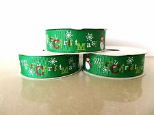 Christmas Ribbon GREEN MERRY CHRISTMAS WITH SNOWMEN~ 5 yard  Roll 16mm Wide
