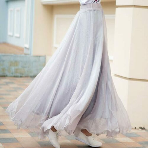 Swing flared high waist maxi dress pleated women skater new solid retro chiffon