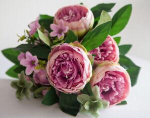 Artificial silk peony flower bouquet no3 7 colours wedding image is loading artificial silk peony flower bouquet no 3 7 mightylinksfo